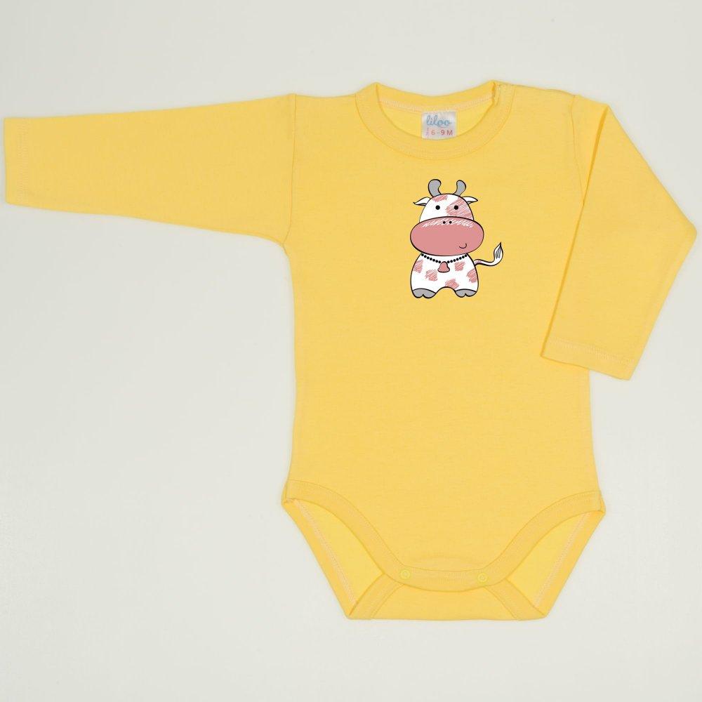 Body maneca lunga minion yellow imprimeu vacuta    liloo