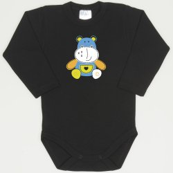 Black long-sleeve bodysuit with  colored hippopotamus print
