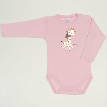 Body maneca lunga orchid pink imprimeu girafa