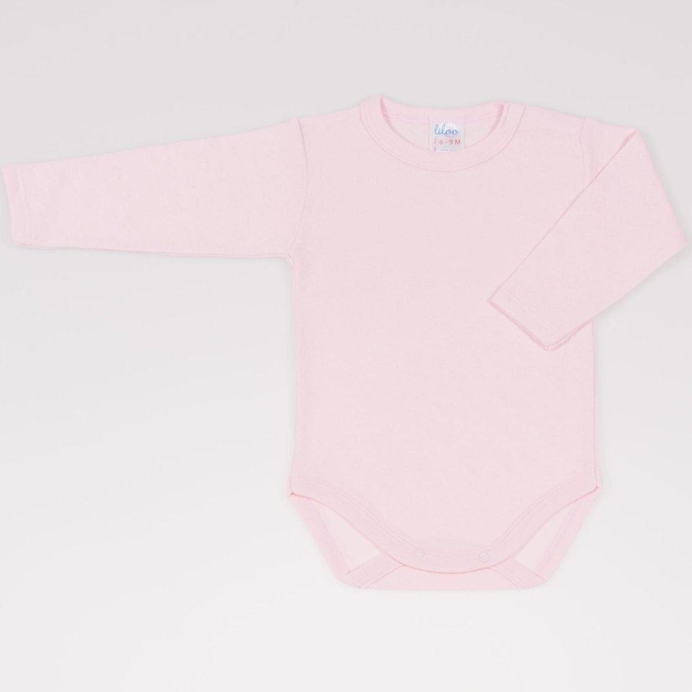 Body maneca lunga roz pal  - material multistrat premium cu model | liloo