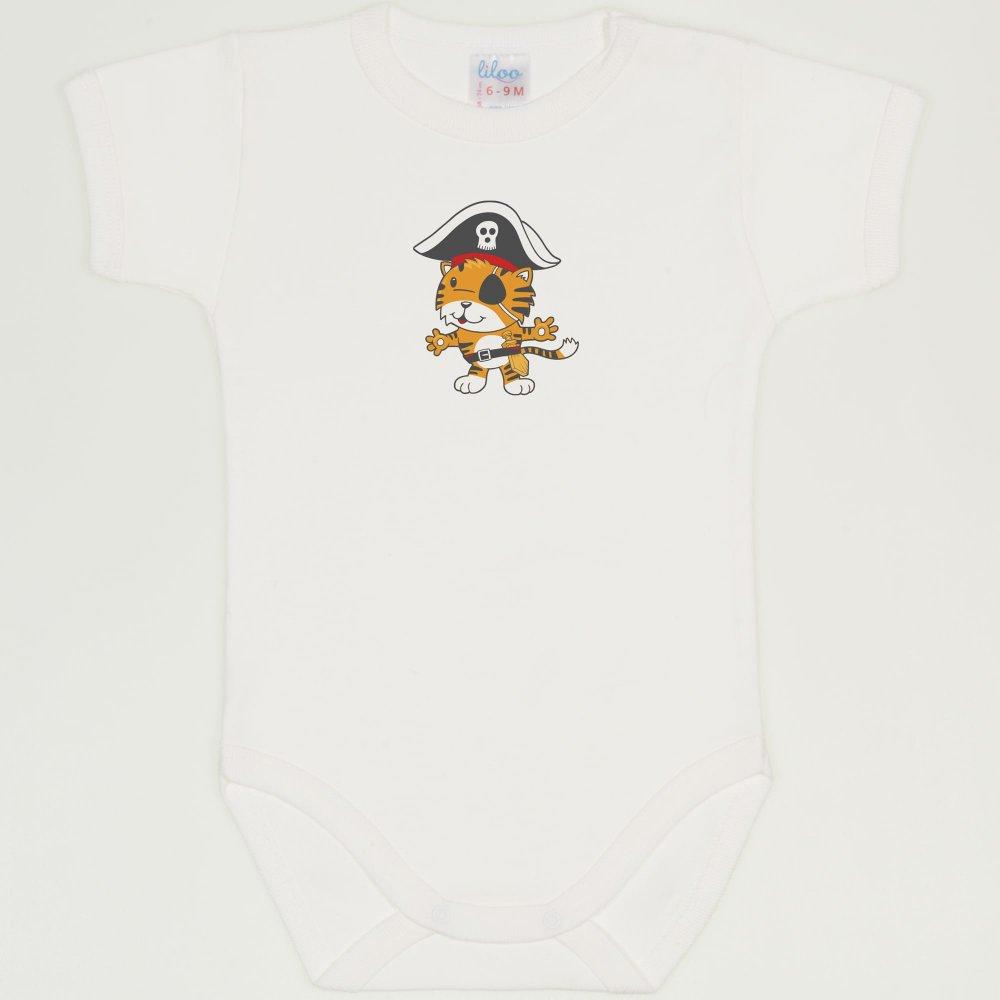 Body maneca scurta blanc de blanc imprimeu tigrisor pirat | liloo