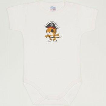 Body maneca scurta blanc de blanc imprimeu tigrisor pirat