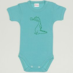 Body maneca scurta aqua imprimeu crocodil