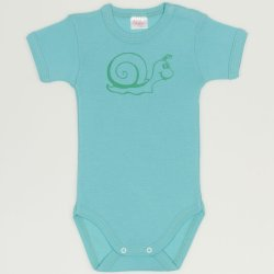 Aqua short-sleeve bodysuit with worm print