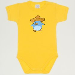 Dandelion yellow short-sleeve bodysuit with penguin chick with sombrero print