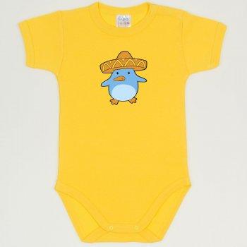 Body maneca scurta galben dandelion imprimeu pui de pinguin cu sombrero | liloo