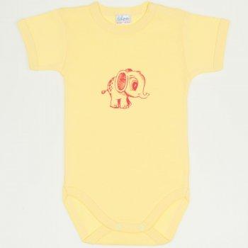 Body mânecă scurtă galben imprimeu elefănțel | liloo