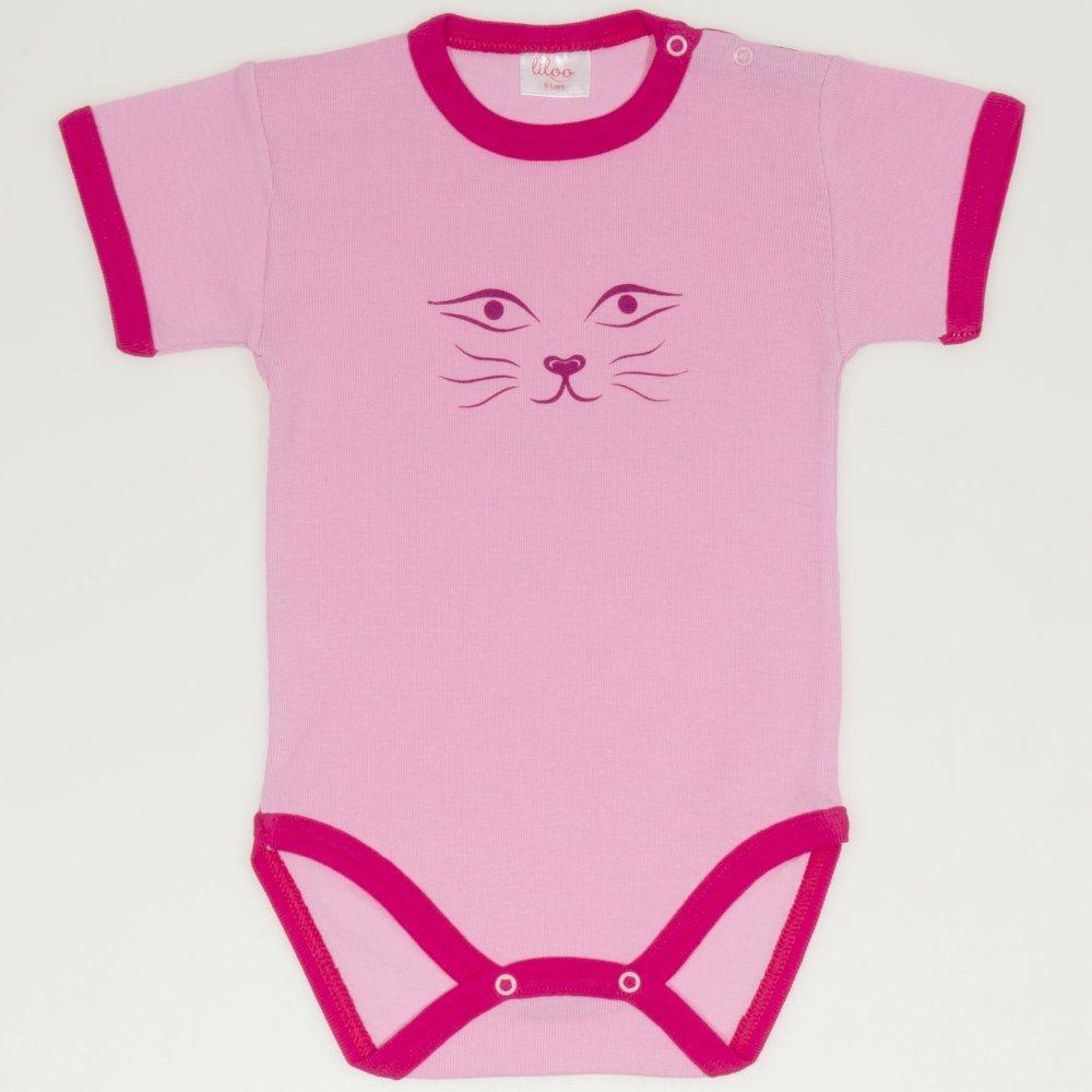 Body maneca scurta roz imprimeu fata de pisica  | liloo