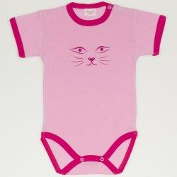 Body maneca scurta roz imprimeu fata de pisica