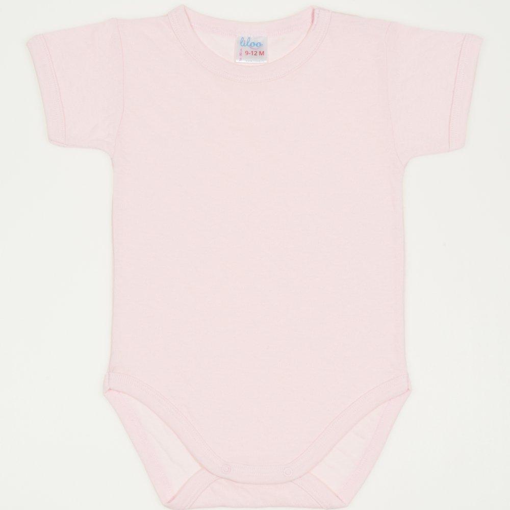 Body maneca scurta roz pal - material multistrat premium cu model | liloo