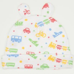 White baby hat with toy ears with transport toys print
