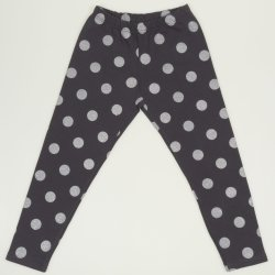 Dark grey thick leggings with light grey dots print