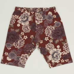 Brick red short leggings with flowers print