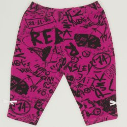 Magenta capri leggings with music print