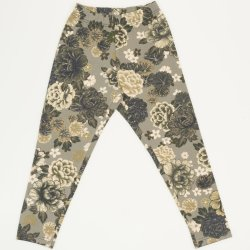 Olive green leggings with flowers print