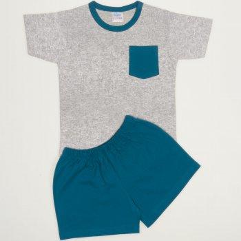 Costum de vara gri cu albastru verzui| liloo