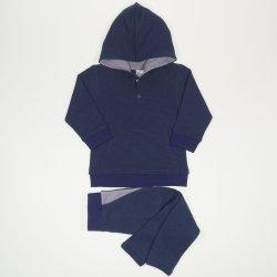Costum cu hanorac si pantaloni cu tur albastru inchis