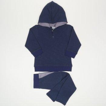 Costum cu hanorac si pantaloni cu tur albastru inchis | liloo.ro