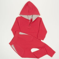 Brick-chrysanthemum suit with hoodie and thin joggers with round