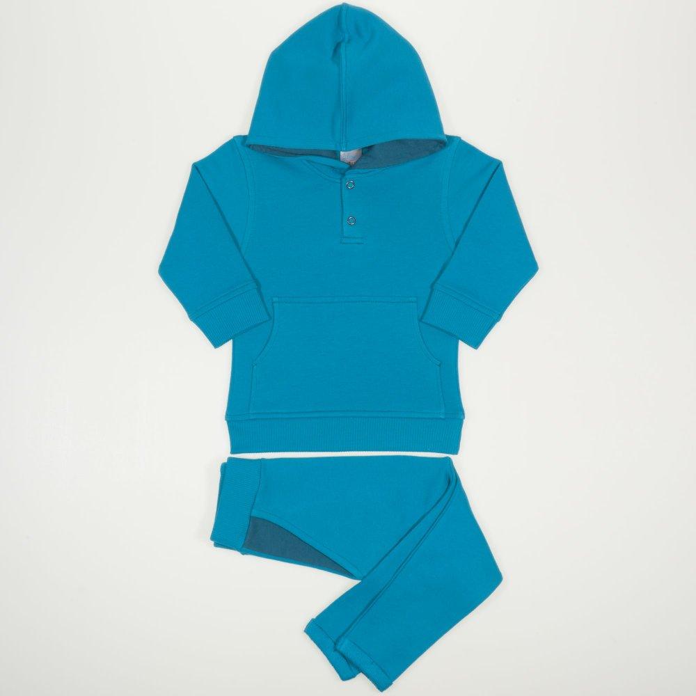 Costum cu hanorac si pantaloni cu tur enamel blue   liloo.ro