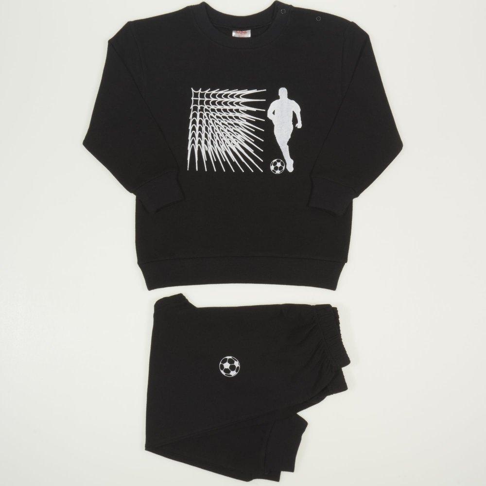 Costum trening negru imprimeu fotbal | liloo