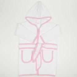 Halat de baie alb cu bordaj roz