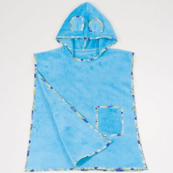 Poncho plaja copii - blue topaz premium