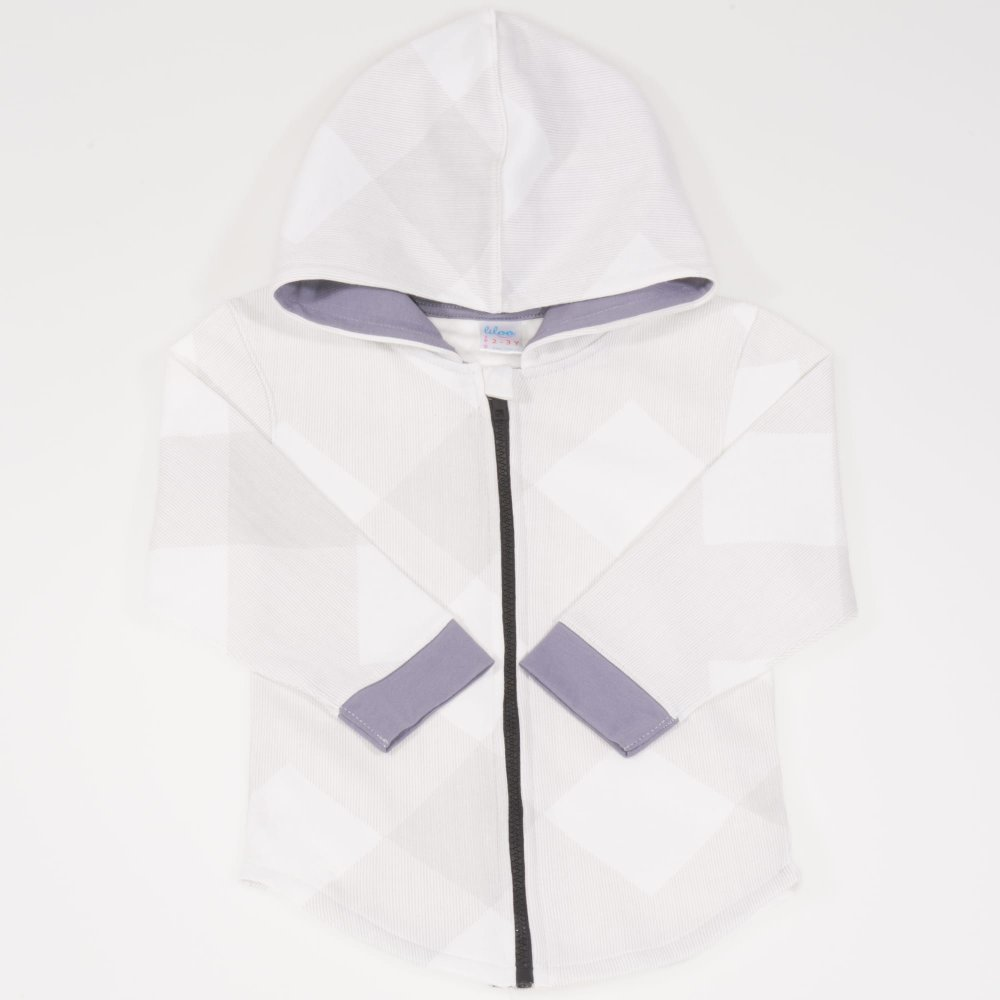 Hanorac alb cu gluga si fermoar - model forme geometrice | liloo