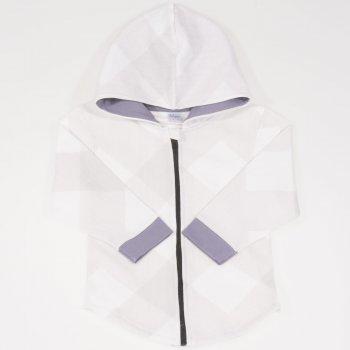Hanorac alb cu gluga si fermoar - model forme geometrice