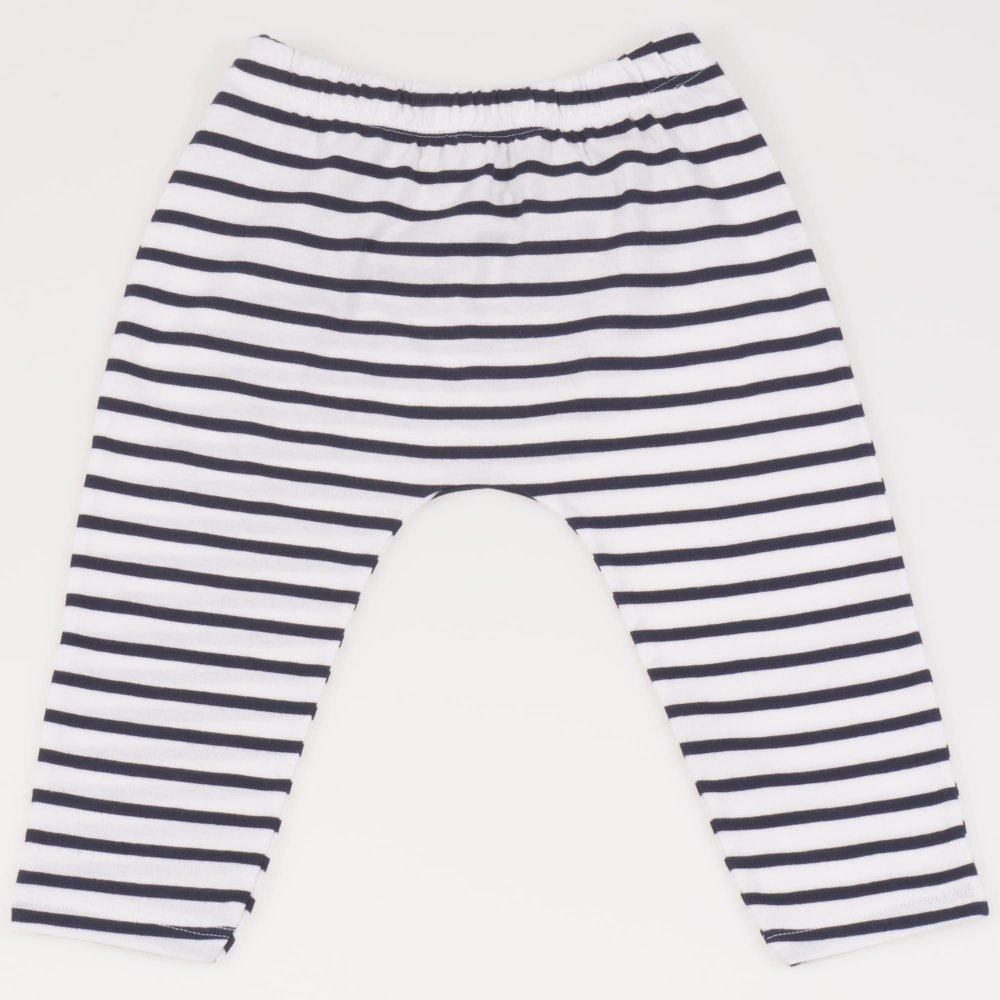 Pantaloni albi cu dungi negre | liloo