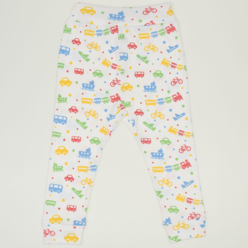 Pantaloni de casă cu manşetă (izmene copii) albi imprimeu jucarii transport  | liloo
