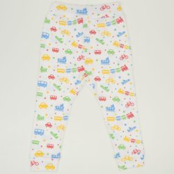 White babysoft trousers with transport toys print