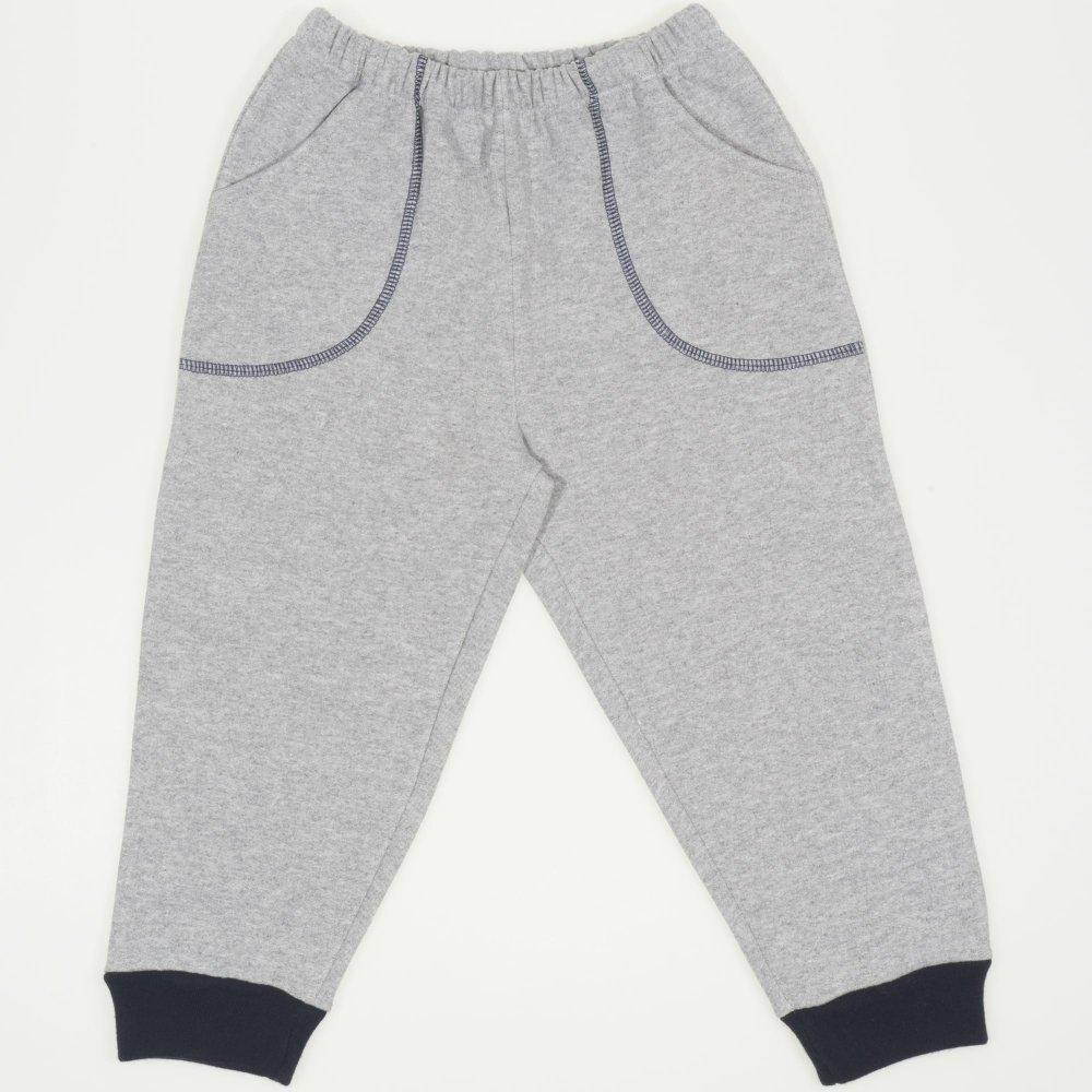 Pantaloni trening grosi gri - mansete bleumarin cu buzunar | liloo