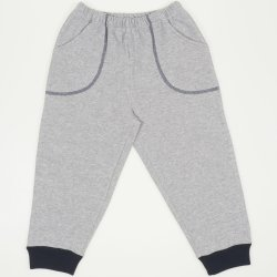 Thick gray joggers - navy cuffs with pocket