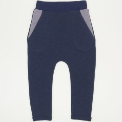 Dark blue thin joggers with round