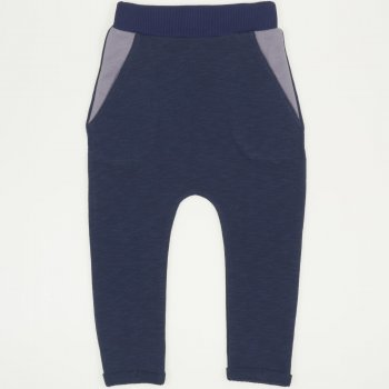 Pantaloni de trening cu tur albastru inchis | liloo.ro