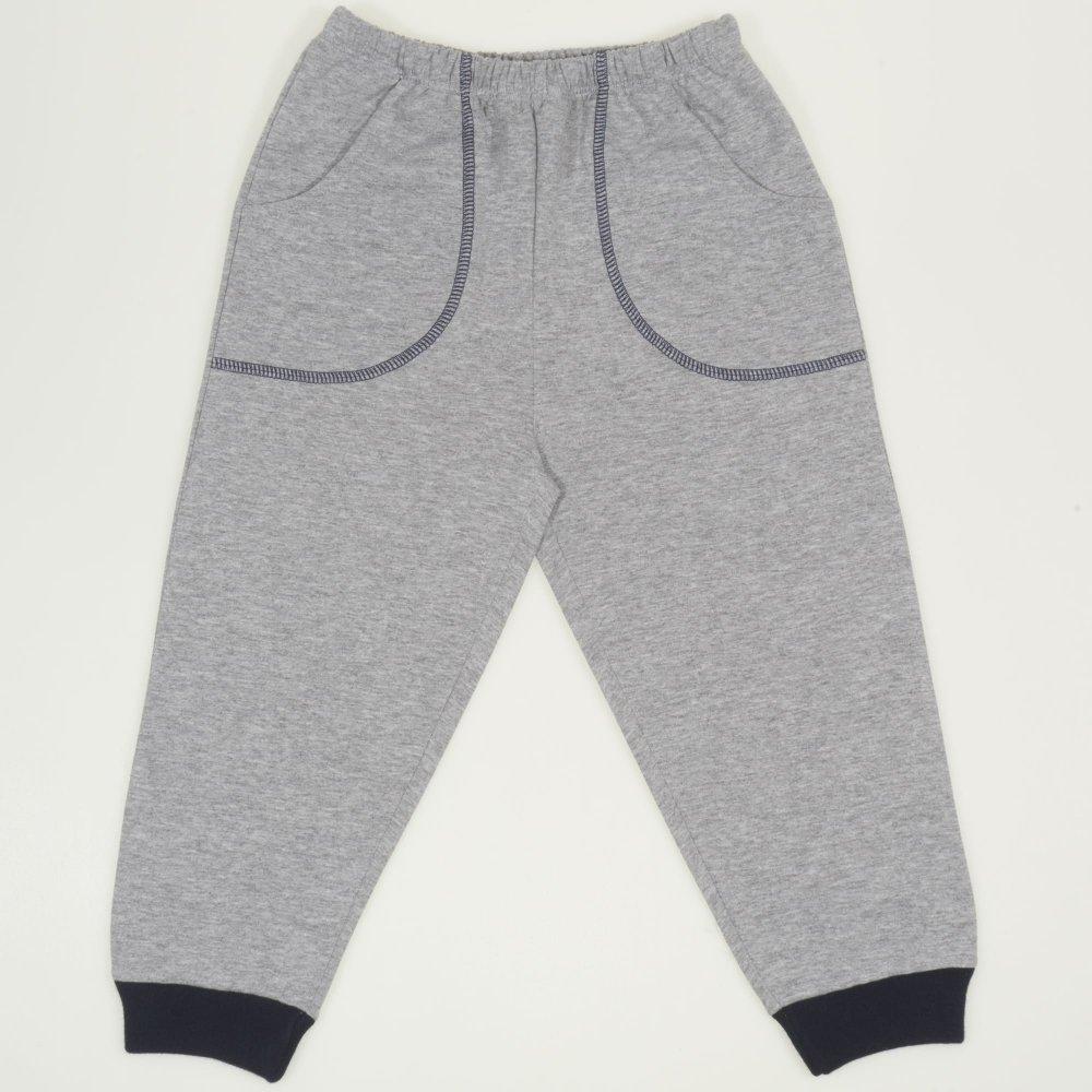 Pantaloni trening gri - mansete bleumarin cu buzunar| liloo