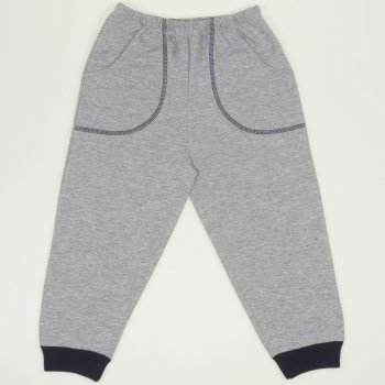 Pantaloni trening gri - mansete bleumarin cu buzunar