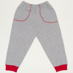 Pantaloni trening subtiri gri - mansete rosii cu buzunar