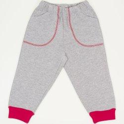 Pantaloni trening grosi gri - mansete rosii cu buzunar