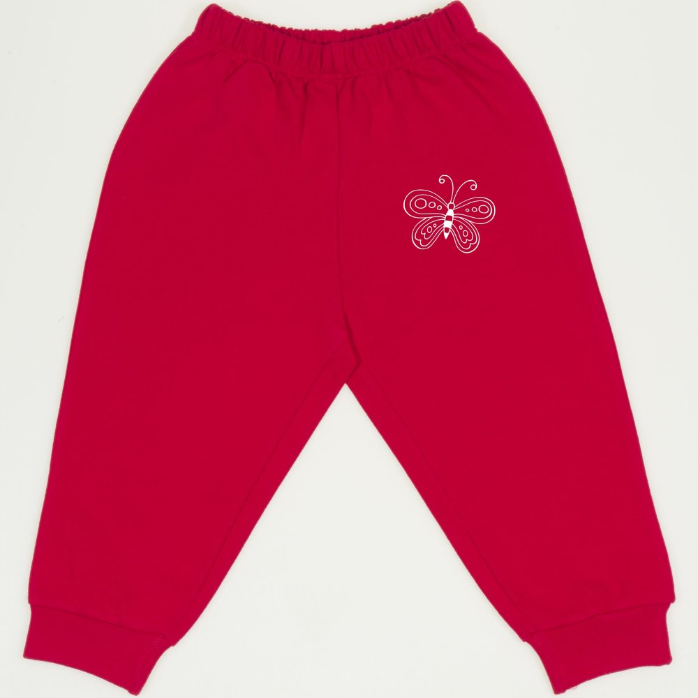Pantaloni trening subțiri roșii imprimeu fluturaș | liloo