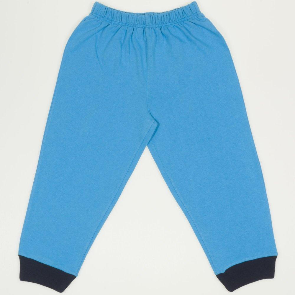 Pantaloni trening simpli turcoaz - mansete bleumarin| liloo