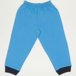 Turquoise thin pull-on pants (navy blue cuffs)