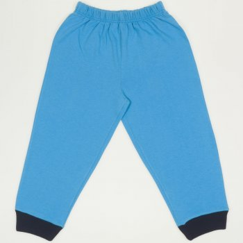 Pantaloni trening subtiri simpli turcoaz - mansete bleumarin| liloo