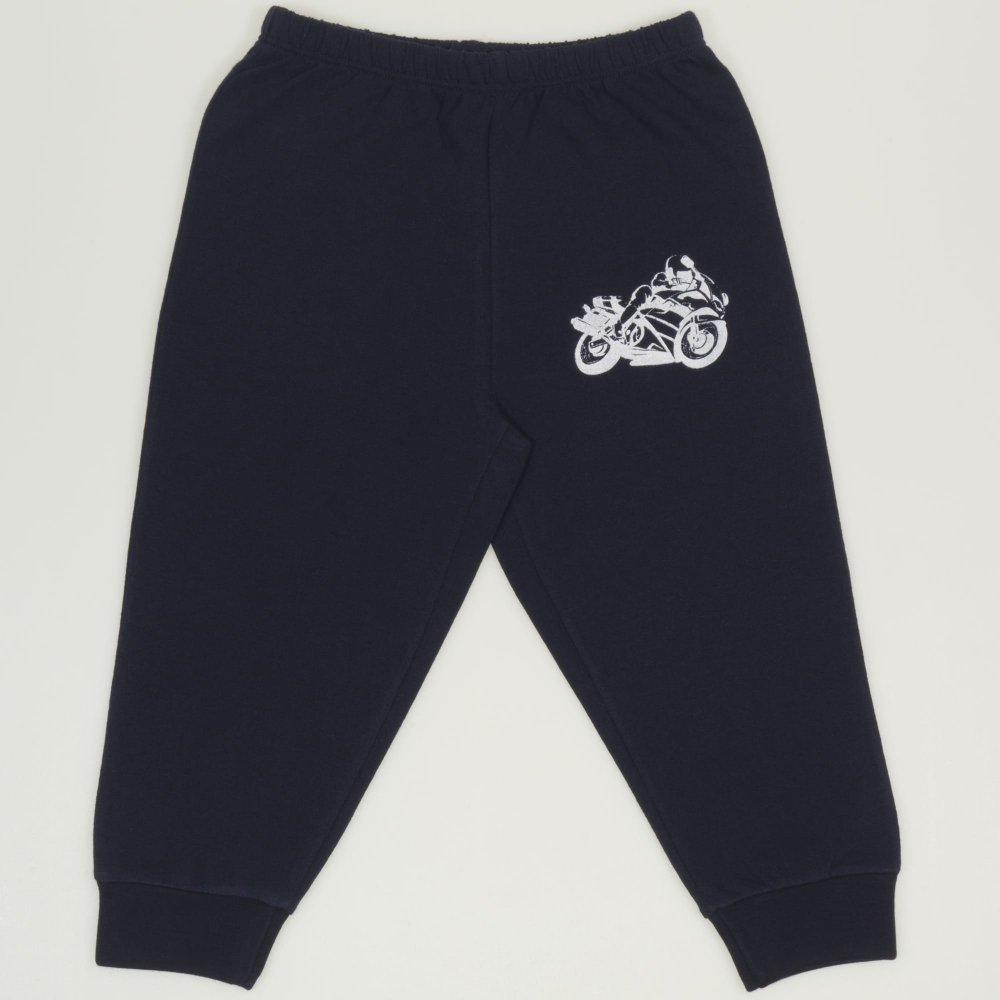 Pantaloni trening subtiri bleumarin cu imprimeu motocicleta | liloo