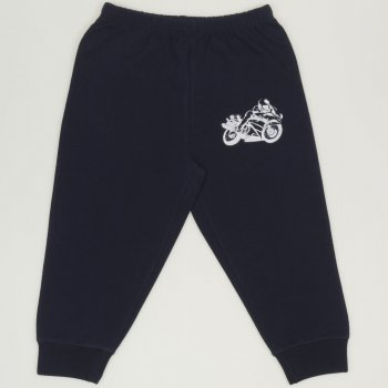 Pantaloni trening subtiri bleumarin cu imprimeu motocicleta