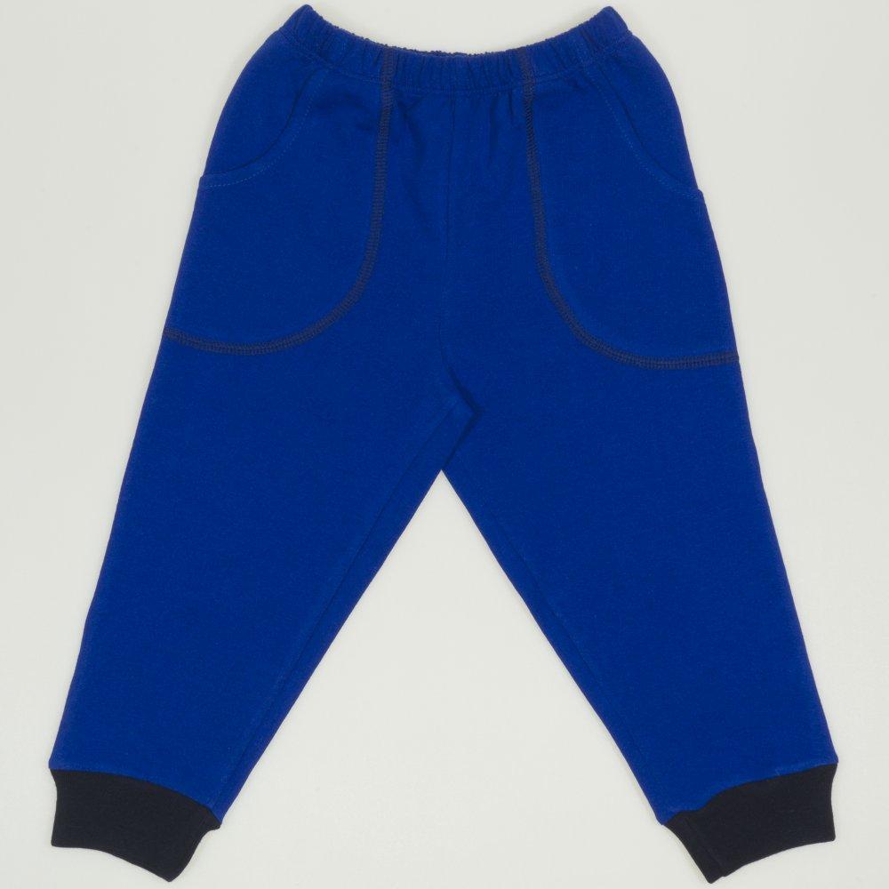 Pantaloni trening subtiri albastri - mansete bleumarin cu buzunar | liloo