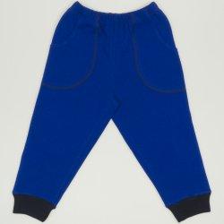 Pantaloni trening subtiri albastri - mansete bleumarin cu buzunar