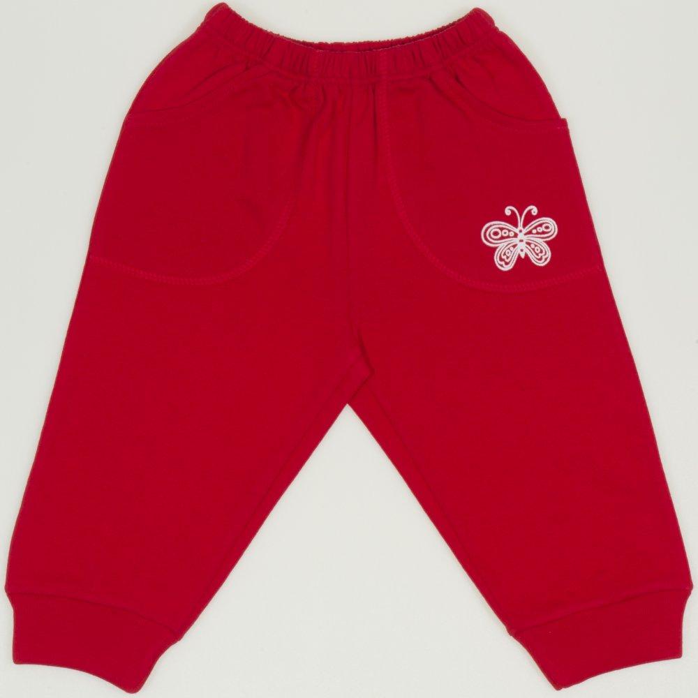 Pantaloni trening rosii cu buzunar imprimeu fluturas | liloo