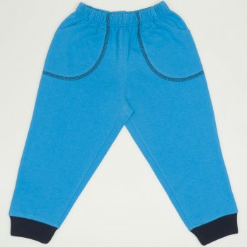 Pantaloni trening subtiri turcoaz cu buzunar